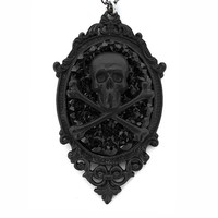 """Skull & Bones"" Necklace by Gasoline Glamour (Matte Black)"