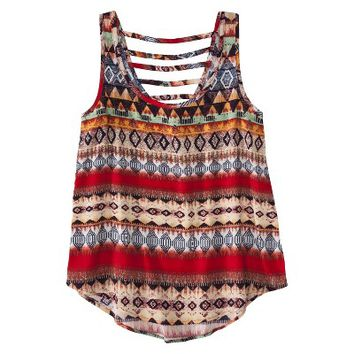 Xhilaration® Junior's Tribal Lattice Back Tank - Assorted Colors
