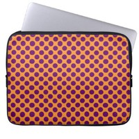 Orange Purple Polka Dot Laptop Computer Sleeve