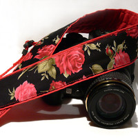 Camera Strap with Roses. Floral Camera Strap. Black Red Camera Strap with Flowers. Women Accessories