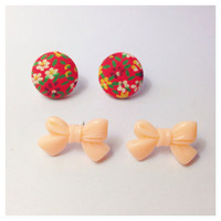 "Handmade Vintage ""Sunday Brunch"" Floral Fabric Earrings and Peach Bow Earring set"