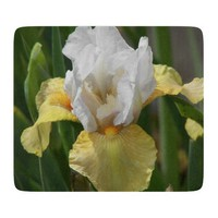 White and Yellow Iris Glass Cutting Board