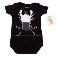 Tiny Tux Baby Tuxedo Bodysuit by Sara Kety - Size 0-6 or 6-12 Months