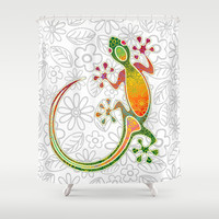 Gecko Floral Tribal Art Shower Curtain by Bluedarkat Lem