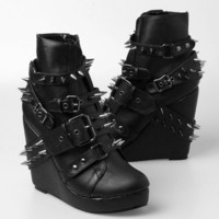 Abbey Dawn 109 Studded Wedge Bootie - Black - Punk.com