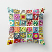 sketchy squares Throw Pillow by Sharon Turner