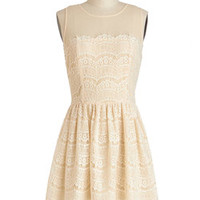 Fashionably Undulate Dress in Cream