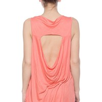 Fiercesome Feathers Cut-Out Back High Low Tank Top - Coral