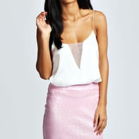 Yazmin Pink Sequin Mini Skirt
