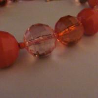 Vintage pink lucite facetted beaded necklace clear and opaque beads costume jewelry perfect for Easter Spring or Summer
