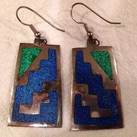 Vintage Alpaca Mexico Earrings with Lapis and Turquoise Inlay Tribal Boho Hippie Spring Sumer