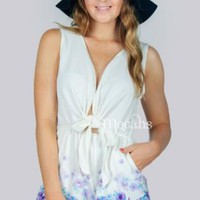 White Playsuit with Floral Design and Front Tie