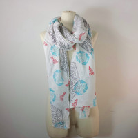 FLORAL SCARF - Long Linen Scarf - Natural Eco Friendly - Abstract Print