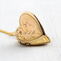 Vintage Gold Filled Over Sterling Heart Locket Necklace - 1940s WWII Era Sweetheart Flower Jewelry Monogrammed RE