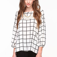 SCOOPBACK GRID BLOUSE