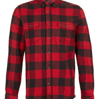 Red Buffalo Check Long Sleeve Flannel Shirt - Men's Shirts - Clothing - TOPMAN