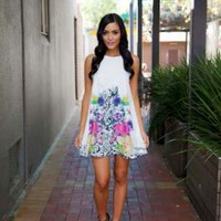 White Dress with Floral Design
