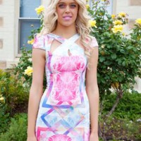Multi-Colored Printed Dress with Cut-Outs