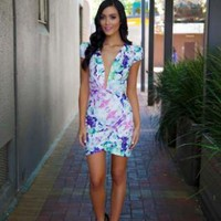 Floral Wrap Dress with Plunging Neck