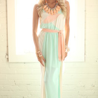 Refreshing in Sorbet Tie Maxi Dress