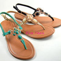 Womens Sandals Thong T Strap Faux Jeweled Flat Slingback Sandal Black Beige