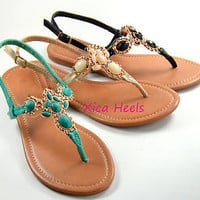 Womens Sandals Thong T Strap Faux Jeweled Flat Slingback Sandal Teal Black Beige