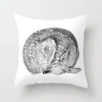 Bambi Throw Pillow by Cheyenne Illustration