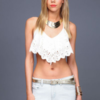 LASER CUT HALTER CROP TOP