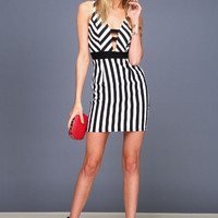 MOD STRIPED PLUNGE DRESS
