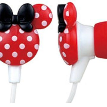Mupods Minnie Mouse polka dot red earphone (japan import)