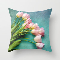Blushing Beauties Throw Pillow by Lisa Argyropoulos