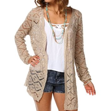 Oatmeal Long Open Knit Cardigan
