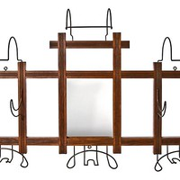 Wood Hat & Coat Rack w/ Mirror