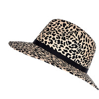 Beige animal print fedora hat - hats - accessories - women