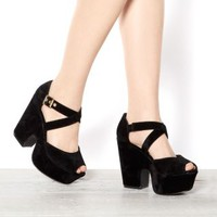 Black Cross Strap Chunky Platform Shoes