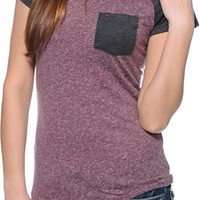 Empyre Petra Blackberry & Charcoal Pocket Tee Shirt