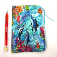 Dolphin Fabric Pencil Case Turquoise Zipper Pouch for Makeup or Cash