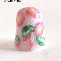 Pink Flower Collectible Thimble Ceramic Polymer Clay Needlecraft  | bluemorningexpressions - Needlecraft on ArtFire