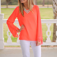 Beloved Blouse, Neon Coral