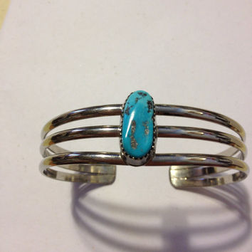 Navajo Turquoise Cuff Bracelet Sterling Silver 925 Vintage Tribal Southwestern Native American Jewelry Blue Indian Sleeping Beauty Nugget