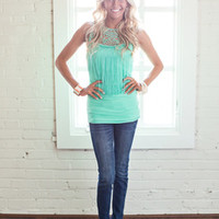 Fancy Fringe Top Turquoise