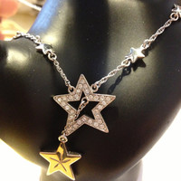 "Sterling Star Necklace 18"" Mother Daughter CZ Cubic Zirconia 8.4 grams 925 Silver Chain Vintage Jewelry Mother's Day Bridal Wedding Gift"