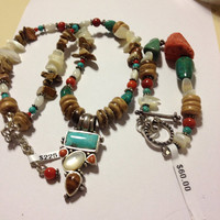 "Barse Turquoise Necklace Bracelet Set NWT Red Coral MOP Jasper Sterling Silver Adjustable 17""-19"" 925 New Tags Vintage Southwestern Jewelry"