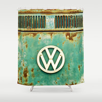 VW Retro Shower Curtain by Alice Gosling