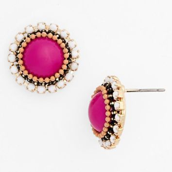 Stone Bead Button Earrings (Juniors) | Nordstrom