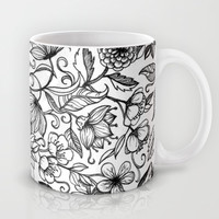Hand drawn pencil floral pattern in black and white Mug by micklyn