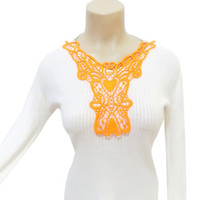 Neon Necklace, Lace Necklace, Neon Orange, Lace Bib, Disco, Summer Jewelry, FREE SHIP, Tribal necklace, Reflective Jewelry, Statement bib