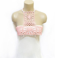 Lace Necklace, Crochet body necklace, Cotton Bib collar, Handmade, Cotton Collar, Bib necklace, FREE SHIPPING, Pink Necklace, Pink