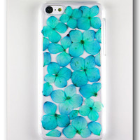 Handmade iPhone 5c case, Resin with Dried Flowers, Sky blue Hydrangea