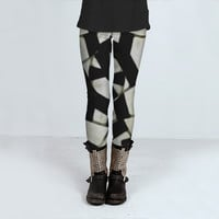 Black and White Abstract Ornament Pattern by Daniel Ferreira-Leites (Leggings)